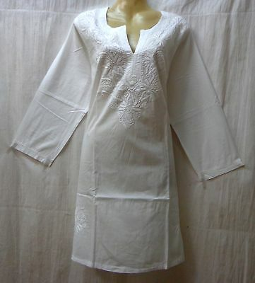 "BRAND NEW Kurti Top Dress BUST 38"" cotton Lukhnowi Kg13 White #ABNGT"