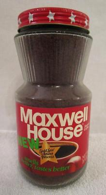 FULL NOS 1970's VINTAGE INSTANT MAXWELL HOUSE COFFEE 10 OZ. GLASS JAR METAL LID