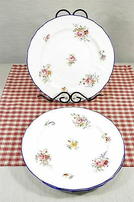 LOT / 3 COALPORT 7868 Floral Sprays Cobalt Trim Dinner Plates Near Mint Pre 1920
