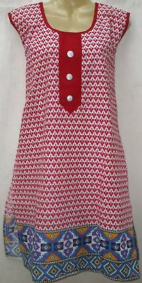 "BRAND NEW Kurti Top Dress BUST 42""  Pure Cotton Kg7 Off-white Rani #ABOC8"