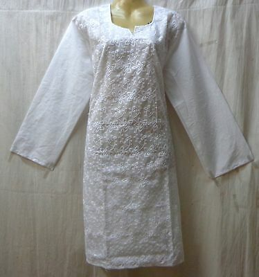 BRAND NEW Kurti Top Dress BUST 44  Pure Cotton Kg7 White #ABOCL