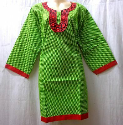"BRAND NEW Kurti Top Dress BUST 42"" cotton Pure Cotton Kg9 Green Maroon #ABPQP"
