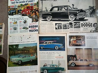 "100 1940s-1960s  DODGE Classic Car  COLOR MAGAZINE AD all 10x14"" 15c LAST LOT"