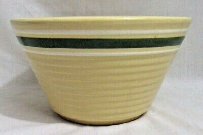 "Vintage WATT Oven Ware USA 8"" Mixing Bowl Green & White Stripes/Bands"