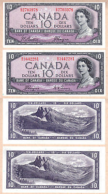 1954 $10 Bank of Canada Devils Face Notes, both signature types. AU+ Condition
