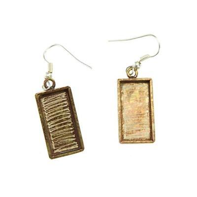 Bezel Handmade Earring Rectangle Antique Brass with Sterling Silver Ear Hooks