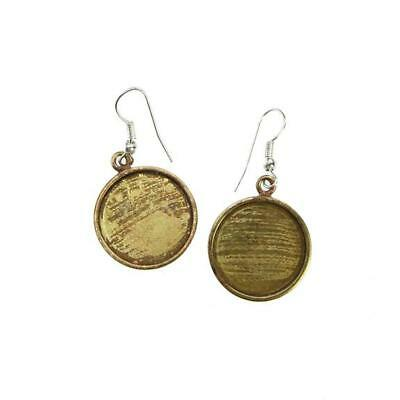 Bezel Handmade Earring Round Antique Brass with Sterling Silver Ear Hooks