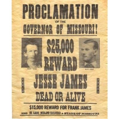 Jesse James & FRANK Wanted Dead or Alive Outlaw Poster Old West Bar Pub Wall DeO