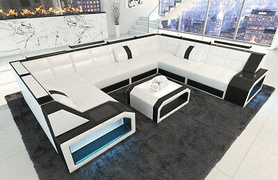 ledersofa eckcouch sofa garnitur pesaro u form led. Black Bedroom Furniture Sets. Home Design Ideas