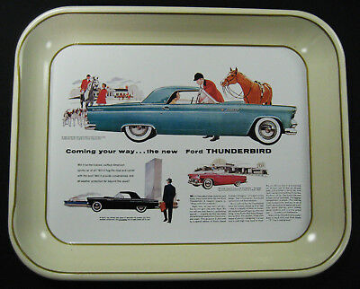 1977 Ford Antique Serving Tray -1955 Thunderbird - Reproduction of 1954 Ad - MT