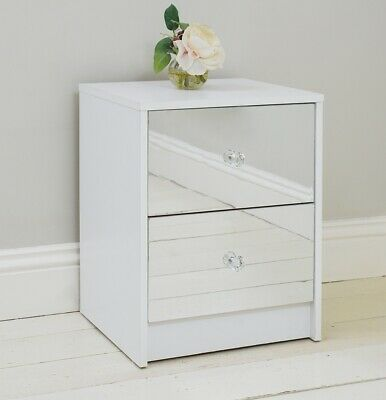 2 Drawer Mirrored Bedside Table Matt White Frame Bedroom Furniture Storage