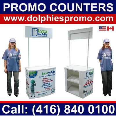 Portable Trade Show Counter Promo Promotion Table Stand Kiosk + CUSTOM GRAPHICS
