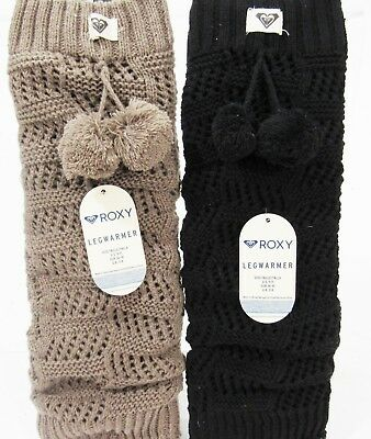 Roxy Pom Pom Crochet Leg Warmers Black or Tan NWT