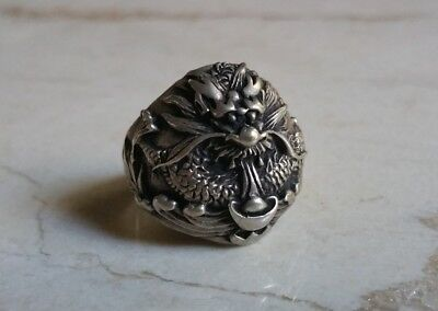 Antique Vintage Silver Chinese Dragon Ring Sz 9.5