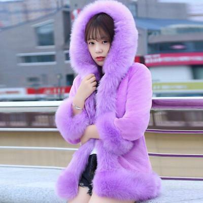 Womens Hooded Faux Fur Jackets Winter Outwears Warm Coats Slim Fit 6 Colors New