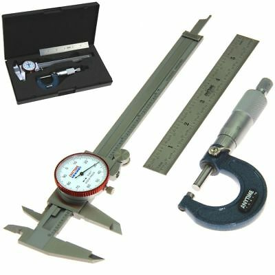 Dial Caliper Micrometer Ruler Machinist Mechanic Student Inspection Tool Set Kit