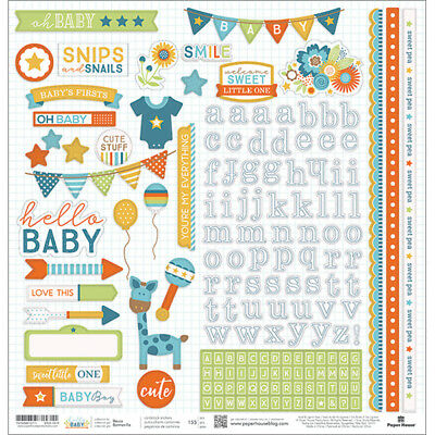 "Hello Baby Cardstock Stickers 12""X12""-Blue Boy"