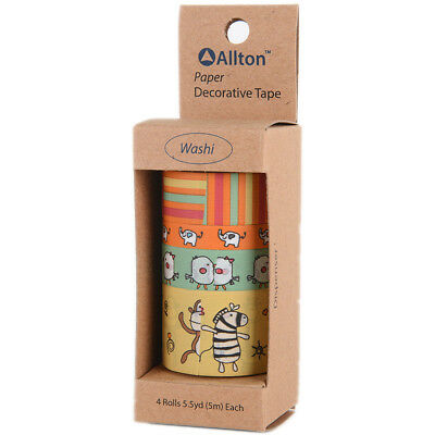 Decorative Washi Tape Assorted Widths 5m 4/Pkg-Embossed Animal