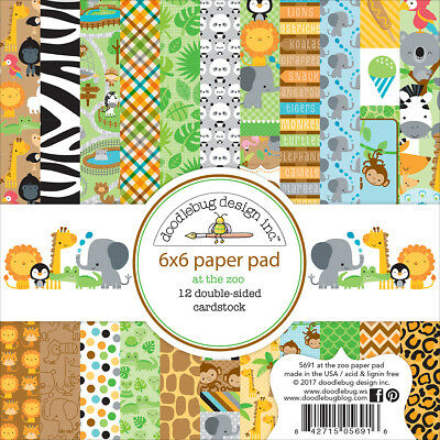 "Doodlebug Double-Sided Paper Pad 6""X6"" 24/Pkg-At The Zoo"