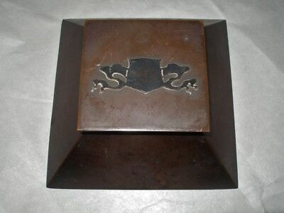 Fine ARTS CRAFTS Hand Crafted COPPER INKWELL with Insert SILVER DRAGON SHIELD