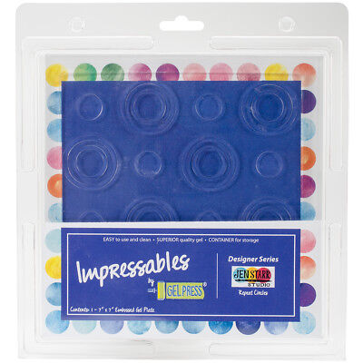 """Gel Press Impressables 7""""X7"""" Embossed Gel Plate By Jen Starr-Repeat Circles"""