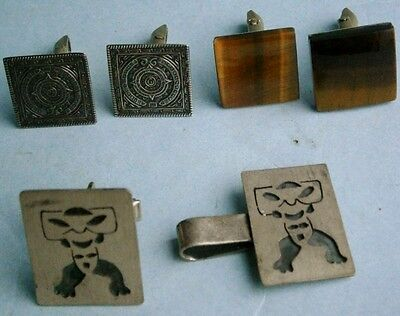 2 Pairs of Mexican Sterling Silver Cufflinks and a Tie Clip