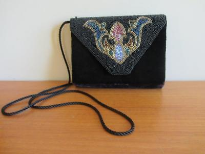 Beautiful Vintage Art Deco Design Black Velvet & Bead Evening Bag Purse