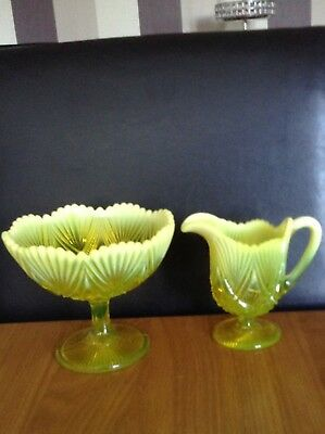A1 Condition a c1897 Davidson Yellow Uranium Pearline Glass Compote And Jug