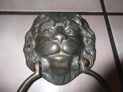 "Vintage Solid Brass Lion Head Door Knocker 7"" x 4"""