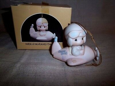"""1984 Precious Moments  """" Have A Heavenly Christmas """" Ornament - Airplane Pilot"""
