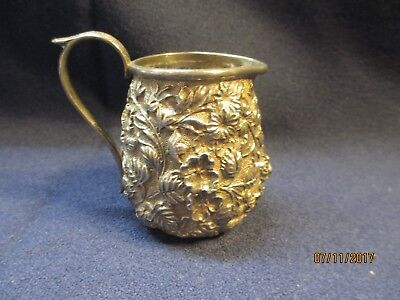 Ornate Sterling Silver Repousse' Cream Pitcher ca 1880-1900