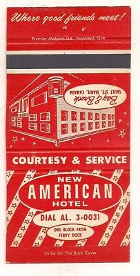 New American Hotel, Bay & Brock Sts., Sault Ste Marie ON Ontario Matchcover 1117