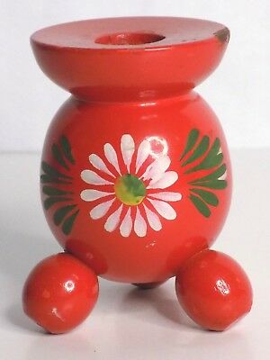 Vtg Swedish Folk Art Red Wooden Ball Candle Holder Hand Painted Flower 3 3/8""