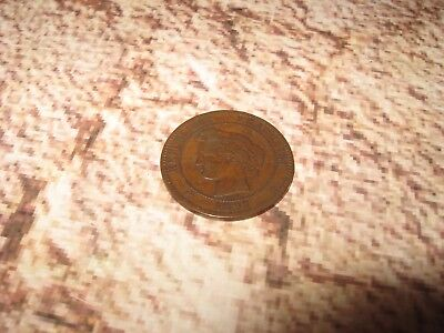 Vintage Old Antique France French Coin 10 Centimes 1897 A