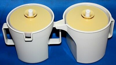 Vintage Tupperware Covered Cream & Sugar-Harvest Gold & Almond-Never Used