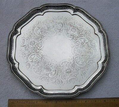 Vintage ELLIS-BARKER English Silverplate Octagonal TRAY- 11 1/4 In.-Pierced Edge
