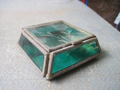 "Very Small Glass & Brass Display Box, Green Sides & Clear on Top, 3""sq. x 1""tall"