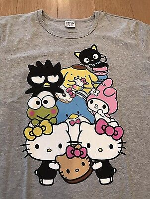 Women's Size XL Hello Kitty Cafe Pop-Up Store Heather Gray T-Shirt NEW Rare