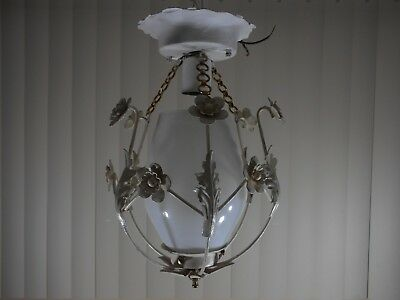 Vtg Floral Tole Ware Shabby Lamp Flowers Hanging Light Toleware Ceiling Mount (1