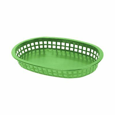 "3 PC Plastic Large 10-3/4"" Fast Food Basket Baskets Tray GREEN PLBK1034G"