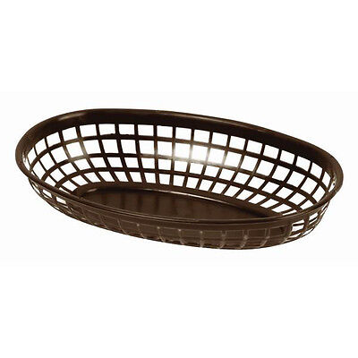 "144 PC Plastic Fast Food  Basket Baskets Tray 9-3/8"" x 5-3/4"" Oval DARK BROWN"