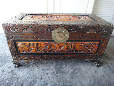 Scarce Vintage Chinese 64cm Camphor Wood Chest ~ Ornate Carving ~ Ancient Ships