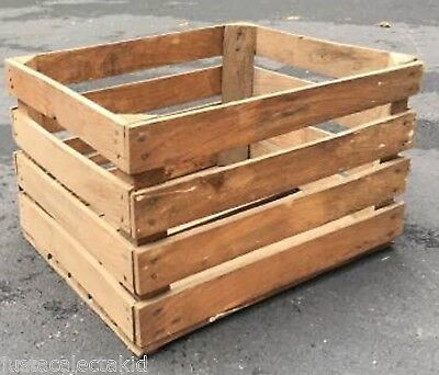 """100 Year Old  WOODEN FRUIT CRATES 18"""" X 14"""" X 11""""  DUBOIS FARMS New Paltz NY OLD"""