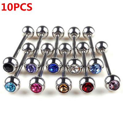 10PCS Lot Mixed Crystal Ball Tongue Bars Rings Barbell Piercing Stainless Steels