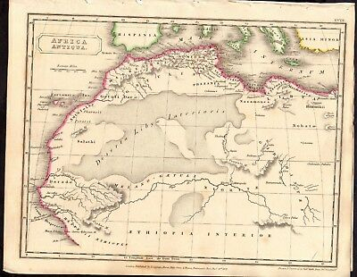 Antique MAP ~ AFRICA ANTIQUA ~ Engraved Handcoloured ~ 1821 c200 YEARS OLD