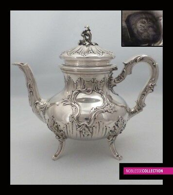 LUXURIOUS ANTIQUE 1880s FRENCH FULL STERLING SILVER TEA POT of Rococo style