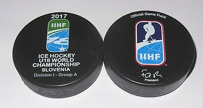 2017 IIHF official HOCKEY GAME PUCK world championship divis JUNIOR U18 SLOVENIA