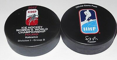 2017 IIHF official HOCKEY GAME PUCK world championship WOMEN Poland DIVISION I