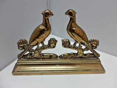Beautiful Solid Antique Brass Pair Of Pheasants Dated Circa 1930 Superb Quality