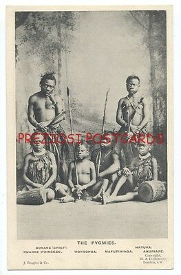 AFRICA - THE PYGMIES - Group of 6 PYGMY NATIVES Weapons, Drums - ca1908